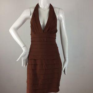 BCBG Brown deep v-neck Halter Dress - size 6